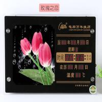 创意时尚夜光静音LED万年历客厅日历钟电子挂钟表 18英寸(直径45.5厘米)