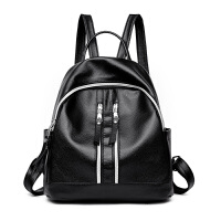 双肩包女韩版潮女包包时尚百搭软皮个性学生书包妈咪背包 百搭黑色