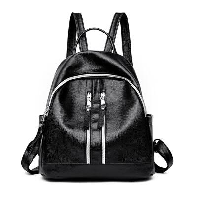 双肩包女韩版潮女包包时尚百搭软皮个性学生书包妈咪背包 百搭黑色 发货周期:一般在付款后2-90天左右发货,具体发货时间请以与客服协商的时间为准