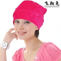 纯棉睡帽男女睡觉保暖透气厚款秋冬绒化疗头巾包头套头帽薄月子帽