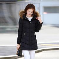 新款棉衣女中长款修身显瘦大毛领加厚保暖外套时尚韩版百搭潮