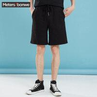 【1件3折到手价:41.7】美特斯邦威运动短裤男新款夏季纯棉透气潮流韩版休闲针织五分裤男