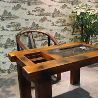 zuczug老船木茶桌椅组合 阳台小户型实木茶艺桌家具 中式功夫茶几泡茶台 160m桌+2+2+1圈椅 整装
