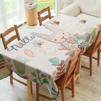 餐桌布艺卡通可爱兔子客厅茶几桌布棉麻长方形小清新书桌台布