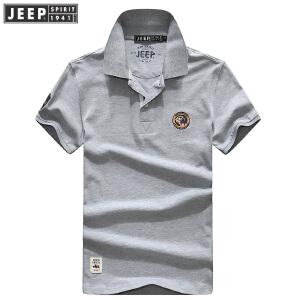 CXH73夏装新款吉普JEEP纯棉翻领短袖T恤衫 商务休闲宽松大码polo