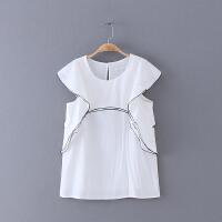 579 夏季新款简约纯色圆领直身上衣女式无袖雪纺衫