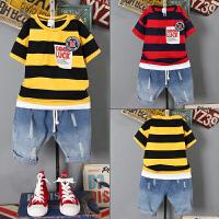 童装男童夏装套装新款 中大童韩版短袖儿童牛仔短裤两件套潮