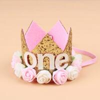 儿童宝宝周岁生日帽子花朵皇冠帽子 派对party布置装饰装扮用品