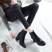 方头及踝靴女2018新款靴子女高跟短靴夏粗跟韩版百搭学生英伦时尚