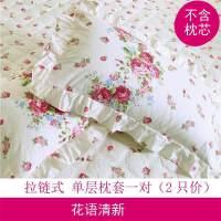 韩版花边枕套枕头套单人学生一对装2只拉链式 花语清新 枕套一对 45CMX75CM