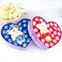 创意礼品 20朵框架小熊香皂花玫瑰礼盒 情人节