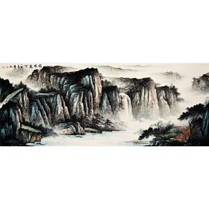 胡爱民《飞流直下》 2.4米巨幅  省美协会员 有作者授权