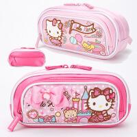 新KT凯蒂猫儿童中小学生女童蝴蝶结笔盒大容量多层笔袋文具袋可爱