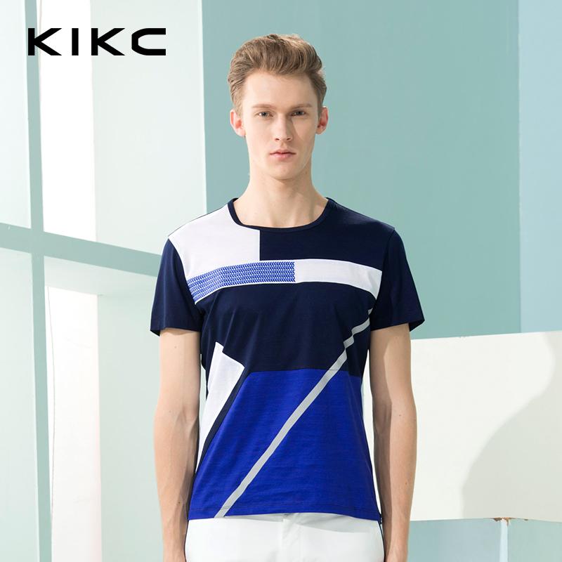 【每满100立减50,领券再减20,仅限8.15-8.18】KIKC男装 夏季新款短袖T恤个性撞色修身休闲纯棉上衣-