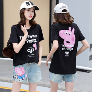 2018夏季新款小清新俏皮套装女小猪印花佩奇短袖t恤短裤两件套潮