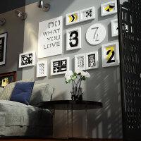客厅简约现代黑白组合创意装饰画个性背景墙墙上挂画餐厅墙面壁画 132*62