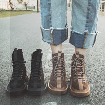 2冬季新款真皮女靴复古擦色平底短靴网红加绒系带马丁靴女冬靴SN7129 黑色单靴 单里
