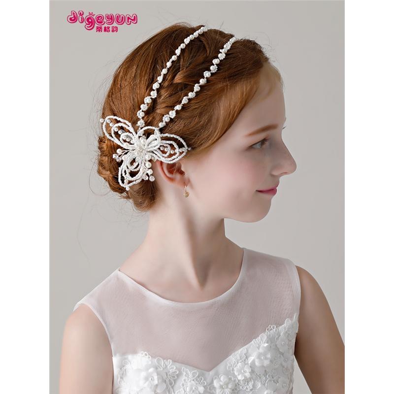 小孩花朵头花发箍花环饰品花童演出配饰儿童发饰女童仿珍珠头饰