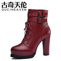 古奇天伦女靴粗跟马丁靴高跟短靴2017秋冬季女鞋英伦风靴子棉鞋子