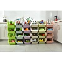 百露塑料带轮厨房置物架夹缝层架蔬菜水果收纳架储物架四件套装收纳篮