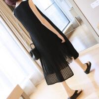 韩版无袖针织马甲女士夏季薄开衫外搭中长款宽松显瘦镂空开叉外套 均码
