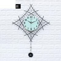 现代钟表挂钟客厅石英钟静音时尚个性简约艺术大挂表创意时钟 玻璃夜光 送蒲公英墙贴 26英寸
