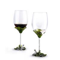 葡萄酒杯高脚杯酒具酒杯 珐琅彩人造水晶玻璃红酒杯