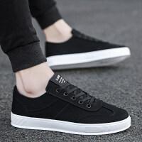 冬季新款男鞋子帆布鞋韩版潮流青少年黑色布鞋男士运动板鞋休闲鞋