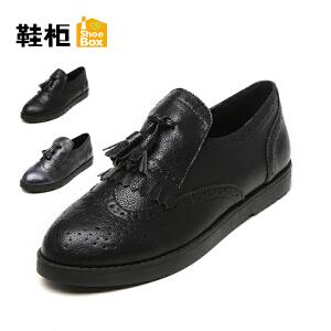 达芙妮集团 鞋柜布洛克平底舒适百搭流苏女单鞋