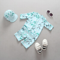 儿童泳衣小童游泳连体中童防晒冲浪服男童宝宝婴儿游泳衣套装 HX-1727天蓝色几何印花+帽子