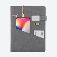 创意笔记本多功能活页记事本日记本带移动电源充电宝商务办公笔记本