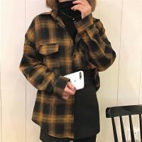 格子�r衫女�L袖��松�n版�W生bf春�b2018新款�凸砰_�W季小外套�_衫