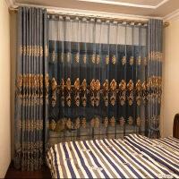 0720012106091欧式蓝咖色雪尼尔绣花窗帘成品简约现代卧室客厅遮光加厚 高2.7以下定制
