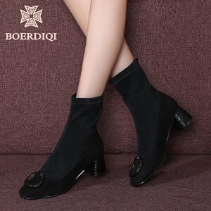 波尔谛奇2017秋冬新品粗高跟单靴高帮短靴子女弹力袜靴裸靴85129
