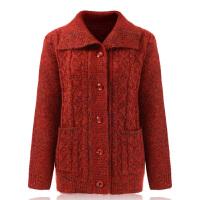 老年人加厚保暖毛衣女装冬季中老年60-70-80岁羊毛衫开衫翻领外套 XL 90-1斤