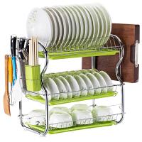 厨房置物架三层碗碟架碗架沥水架滴水架收纳架碗柜用品晾放碗筷架 加厚3层+3个绿盘+筷子筒+砧板架 送工具+挂钩+