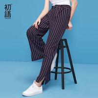 初语2018夏季新款雪纺裤圆环腰带侧边开叉条纹直筒阔腿九分裤女潮