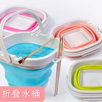 折叠硅胶美术涮笔洗笔筒桶大号水粉颜料水彩画画专用户外水桶绘画可折叠伸缩多功能洗颜料的桶塑料橡胶