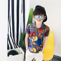 童装2017夏装新款男童花衬衫POLO衫短袖运动休闲印花t恤潮中大童