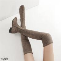 卡其色靴子女长靴女过膝方头平底弹力靴卡其色长筒靴子女冬瘦瘦靴显瘦过膝靴 TBP