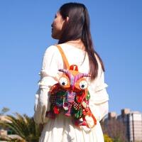 民族风小号猫头鹰双肩包儿童拼接布刺绣布艺包可爱个性背包
