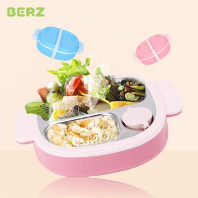 BERZ贝氏儿童注水保温餐盘分格盘可拆洗婴儿辅食饭盒宝宝餐具