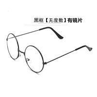 新款学生文艺圆形金属框眼镜女防辐射平光镜0-600度近视镜男