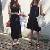 韩国ulzzang复古夏装新款宽松百搭挂脖无袖吊带裙打底裙连衣裙女