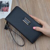 新款钱包女式拉链手拿包长款百搭零钱位皮夹韩版个性可放手机钱夹