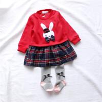 拼接加绒格子兔兔裙 女童连衣裙秋冬装 婴儿小童长袖女宝宝裙子
