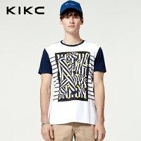 kikc短袖T恤男2018夏季新款青少年时尚圆领拼色印花潮流休闲上衣