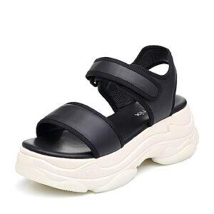 Teenmix/天美意2018夏牛皮革/纺织品一字带厚底运动风女凉鞋1807ABL8