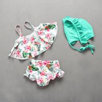 韩国儿童泳衣女孩可爱公主性感平角裤小中大童女童泳装度假泳衣 白色