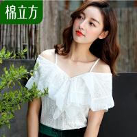 白色宽松露肩蕾丝雪纺衫女夏季2018新款棉立方小心机性感甜美上衣